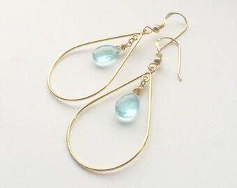 Topaz 14 k goldfill earrings with gold earrings, earrings with Topaz, Topaz, earrings with Blue Topaz