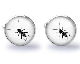 Cricket Cufflinks - Cricket Silhouette - Crickets Cuff Links - Insect Cufflink (Pair) Lifetime Guarantee (S0646)