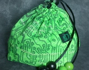 Cyberpunk - Green scifi pattern dice bag / pouch with black cotton lining