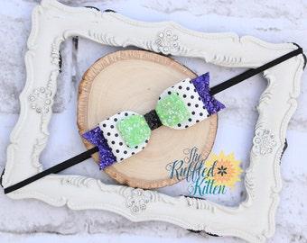 Halloween Felt Bow - Hair Blossoms - Hair Blossom - Black and Purple - Halloween - Headband - Hair Clip - Felt Bow