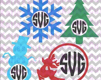 Christmas Monogram Frames, Snowflake Frame, ReindeerFrame, Snowman Frame, Christmas Tree .SVG/.PNG/.EPS Files for all Vinyl Cutting Machines