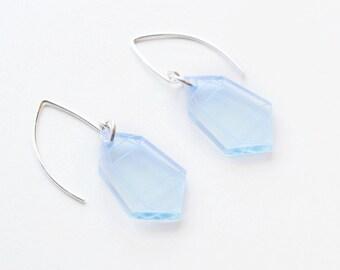 Laser Cut Neon Blue Acrylic Crystal Earrings / Modern & Minimalist Jewelry / Cyberpunk Jewelry / Futuristic / Low Poly