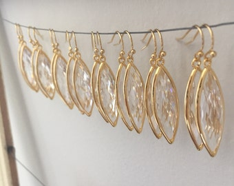 Gold bridesmaid earrings set of 8 SALE!