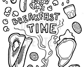 Colouring Card Dinner Invitation - A6 coloring pages, breakfast card, breakfast illustration, digital card, breakfast time