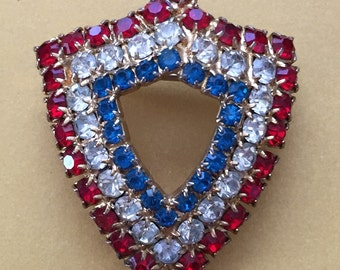 red, white and blue patriotic shield brooch