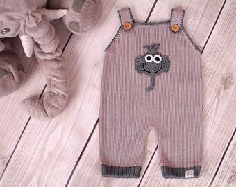 Baby romper suit carrier bib elephant