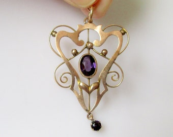 9ct Rose Gold Amethyst Pendant and Chain