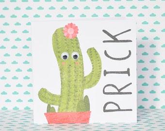 Prick cactus greetings card googley eyes