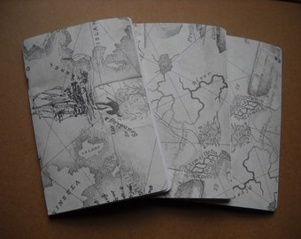 Set of 3 Travel Journals Notebooks Sketchbooks Vintage Map Nautical Atlas