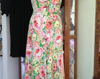 Vintage 1990's Floral Dress *  Coldwater Creek *  Size Medium