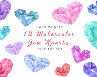 Watercolor heart clipart, hand painted watercolor love clip art, watercolor gem hearts