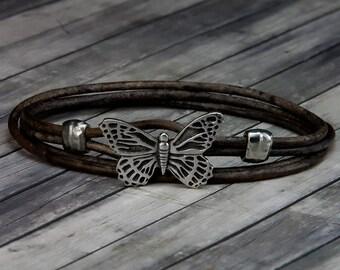 Butterfly Leather Bracelet - Leather Bracelet - Leather Wrap Bracelet - Womens Leather Bracelet - Butterfly Jewelry - Butterfly - Bracelet