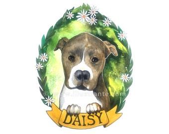 Custom pet portrait, custom pet watercolor, custom pet painting, custom pet drawing, custom pet art, custom dog portrait, custom dog art.