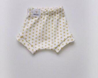 Gold polka dot bloomers organic knit