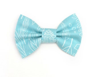 Blue Feather Hair Bow