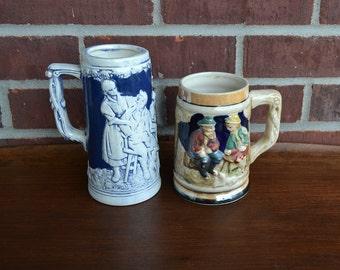 Set of 3 Vintage Beer Steins / Barware