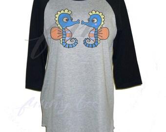 Blue seahorse love shirt raglan shirt Funny Tee **3/4 sleeve shirt **Men women tshirts size S M L XL XXL