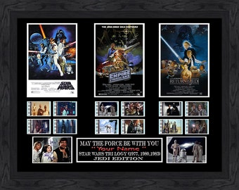 CUSTOM Signed - Star Wars Trilogy film cell Filmcell, Add Your Personalised Engraved Name. mark hamill , Harrison Ford and Carrie Fisher