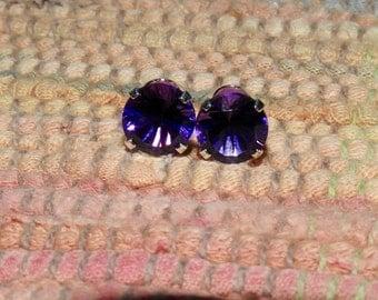 Zambian Amethyst 3.60 TCW 8 MM Round Concave Cut Stud Earrings