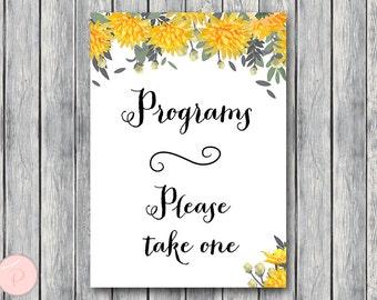 Yellow Wedding programs sign, Printable Program Sign, Wedding Ceremony Program, Printable sign, Wedding decoration sign TH18 TH29