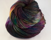 Hand Dyed Sock Yarn, hand dyed wool, variegated sock yarn, nylon sock yarn, pink, purple, green, blue, yellow, black