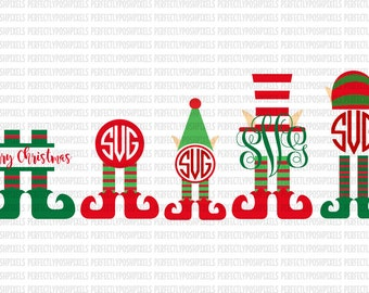 Elf Monogram Elf SVG Christmas Monogram SVG File dxf eps SVG files Silhouette Cameo Cricut Explore Christmas cut files