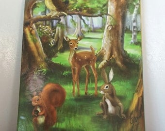 CHILDREN cutlery forest animals free engraving