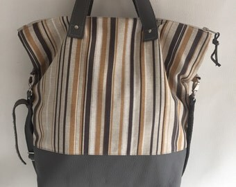 Grey leather and cotton tote bag, shoulder bag, handbag, crossbody bag