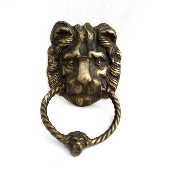 Solid brass door knocker vintage lion face door knocker - Lion face door knocker ...