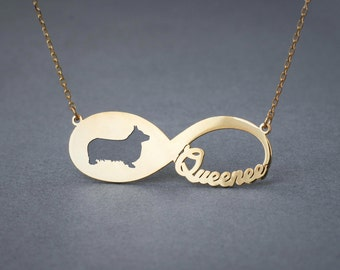 14k Solid Gold Personalised INFINITY Pembroke Welsh Corgi  Necklace - 14k Gold Corgi Necklace - Name Necklace