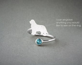Adjustable Spiral NEWFOUNDLAND BIRTHSTONE Ring / Newfoundland Dog Birthstone Ring / Birthstone Ring / Dog Ring
