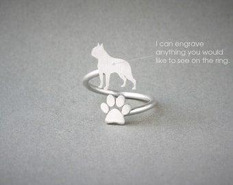 Adjustable Spiral BOSTON TERRIER and PAW Ring / Boston Terrier Ring / Paw Ring /Dog Ring / Silver, Gold Plated or Rose Plated.