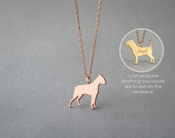 14K Solid GOLD Tiny BOXER Name Necklace - Boxer Necklace -  Gold dog necklace - Dog Necklace - 14K Gold or Rose Plated on 14k Gold Necklace