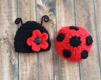 ladybug outfit,  ladybug hat and tushy cover,  baby ladybug, newborn lady bug set, photography prop