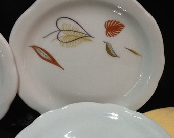 Sterling Vitrified China Restaurantware Hotelware  Liverpool Ohio MCM  Set of 6 Small Plates- Cool Leaf Pattern