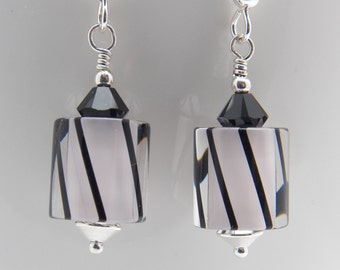 Handmade Furnace Glass & Swarovski Crystal Earrings