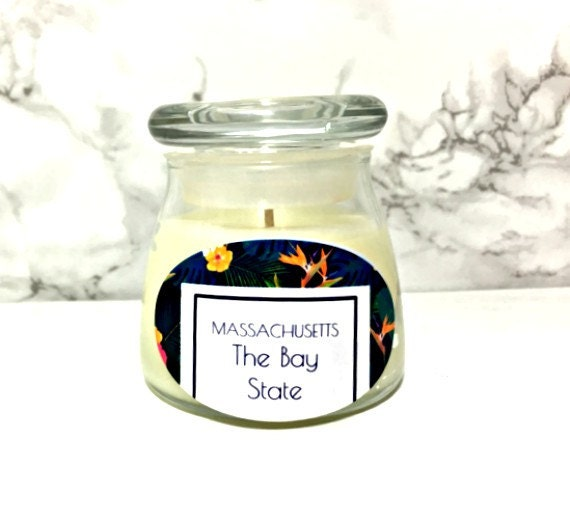 massachusetts state scented candle souvenir by kreationscandle