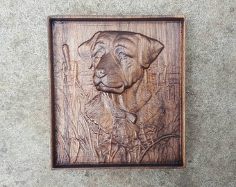 American Black Walnut Wooden 3D Engraving Relief Dog in the Rushes by Pond River Lake Art Picture Farming Wall art Framed
