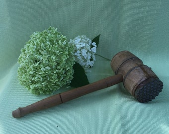 Mid century solid wood mallet. Wooden meat tenderizer. Farmhouse kitchen decor.