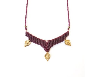 Purple eggplant colored necklace with beads of India.BohoStyle.Indian.Tribal.Gypsyjewelry.Hippie.Indian brass.Macramé necklace.