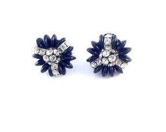 Vintage 1950s Rhinestone & Black Plastic Silvertone Clip Earrings, Costume Jewelry