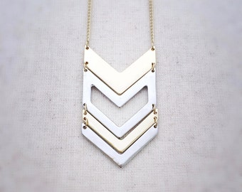 Gold and silver, long necklace, chevron necklace, pendant necklace, gold and silver jewelry, gold and silver necklace, gold necklace,silver