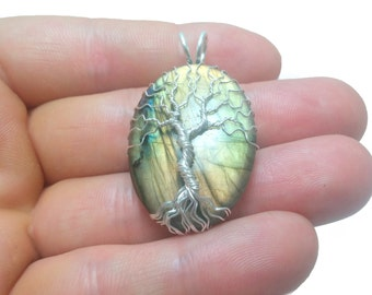 FREE SHIPPING Wire wrap tree of life pendant with genuine labradorite gemstone