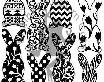 8 Bunny / Rabbit Pattern SVG file