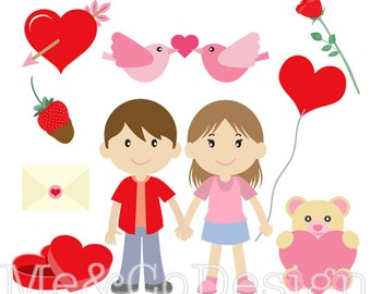 Valentine Kids Clipart, Fun Cute Clipart, Romantic, Instant Download, Personal and Commercial Use Clipart, Digital Clip Art