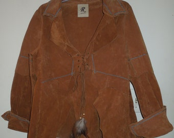 Rampage Vintage Cognac Suede Unlined Lace-Up Jacket with Turquoise Embroidery and Feather Detail Size Large