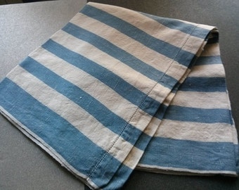 striped linen Tea towel Vintage year 1970