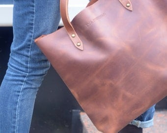 bags purses totes brown leather tote vintage brown leather bag worn leather tote brown leather handbag Saddle Brown Distressed Leather Tote