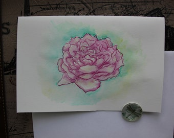 Rose hand painted greeting card