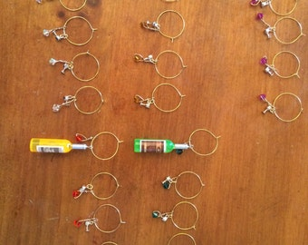 Wine bottle and glass charm sets
